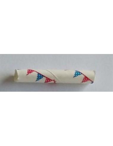 Pack de 25 pajitas de papel blanco con banderines azules y rojos