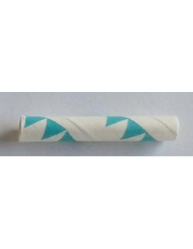 Pack de 25 pajitas de papel blanco con banderines azules
