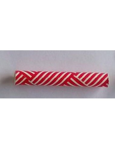Pack de 25 pajitas de papel rojo con estampado de cesta blanco