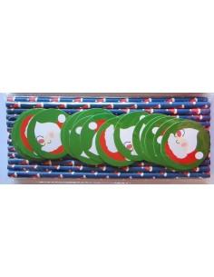 Pack de 25 pajitas de papel azul con toppers de Papa Noel