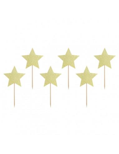Toppers estrellas doradas papel