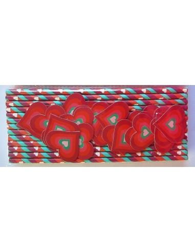 Pack de 25 pajitas con papel a rayas con topper de corazón