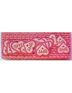 Pack de 25 pajitas de papel rosa con topos rojos y toppers Love