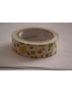 Fabric Tape con flores amarillas, naranjas y verdes