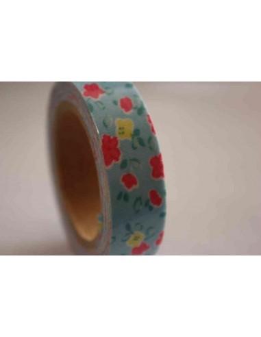 Fabric Tape azul con flores primaverales