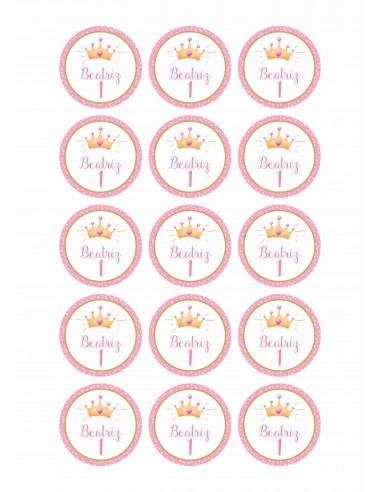 Papel de azúcar corona princesa para galletas