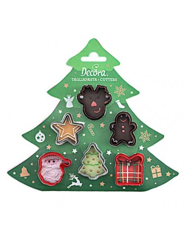 Set 6 mini cortadores navideños plástico