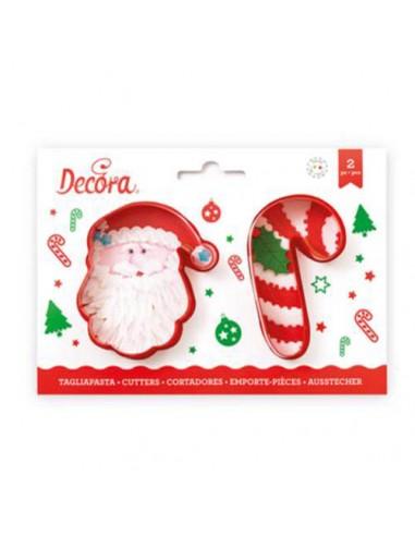 Cortadores Papá Noel y Bastón de caramelo plástico