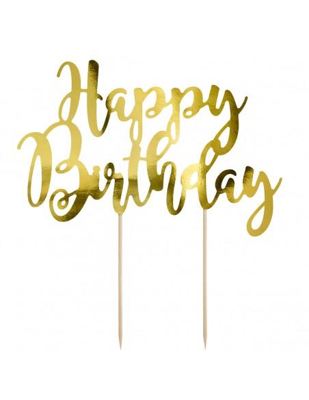 Topper happy birthday papel oro