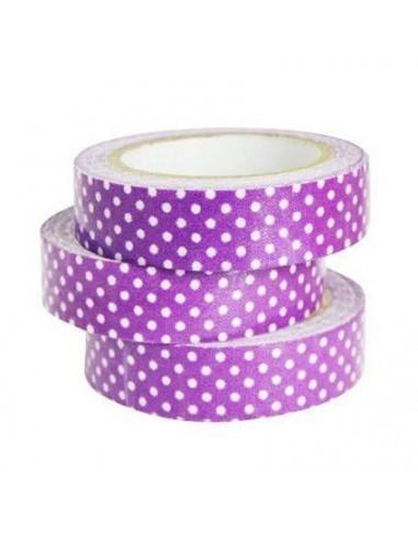 Fabric Tape Morado Lunares Blancos