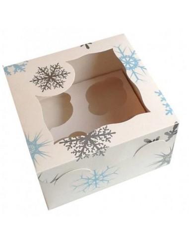 Caja para 4 cupcakes copos de nieve