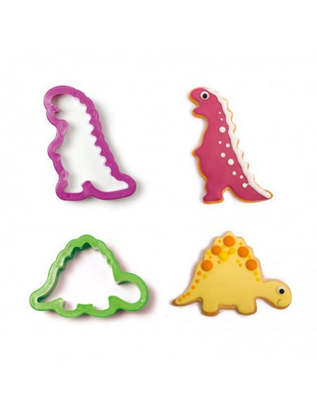 Set 2 Cortadores Dinosaurios de plástico