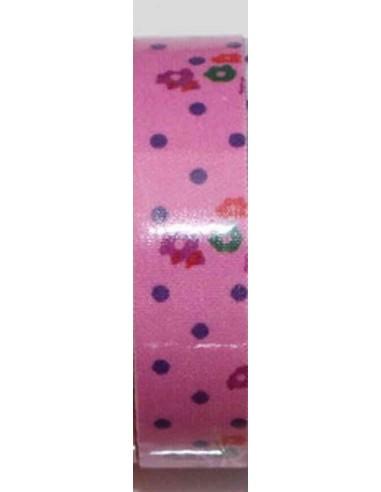 Fabric tape rosa con lunares morados y flores