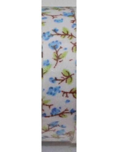 Fabric tape blanco con flores celestes