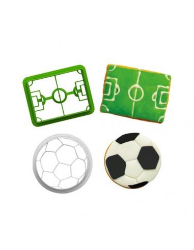 Set 2 Cortadores balón y campo de fútbol
