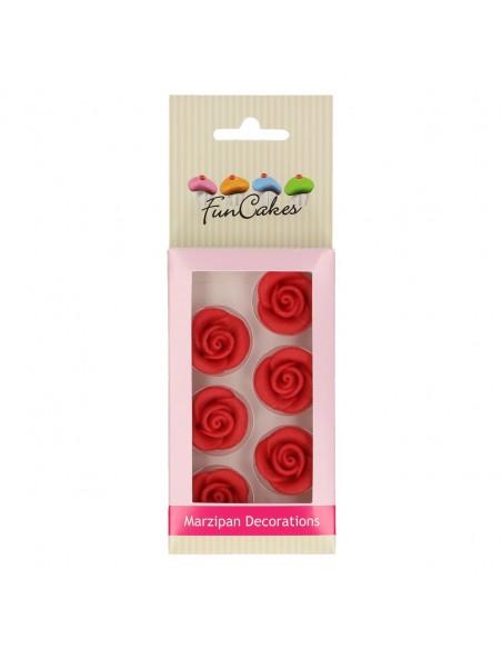 Rosas de mazapán rojas