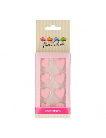Set 8 Corazones de azúcar rosas