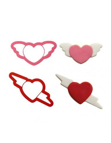 Set 2 Cortadores corazones con alas