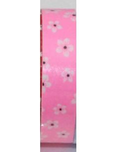 Fabric tape rosa con flores blancas