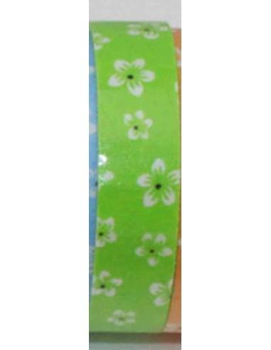 Fabric tape verde con flores blancas grandes
