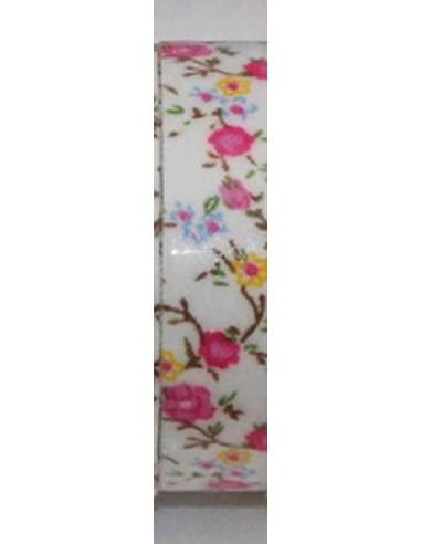 Fabric tape blanco con flores rosas, amarillas y azules