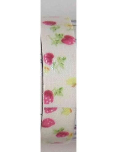 Fabric tape blanco con fresas