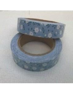 Fabric tape azul claro con florecillas blancas