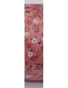 Fabric tape salmón con florecillas blancas y rojas