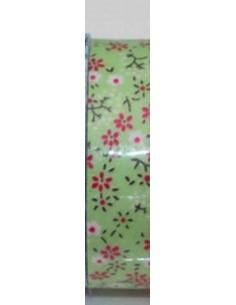 Fabric tape verde claro con florecillas fucsia