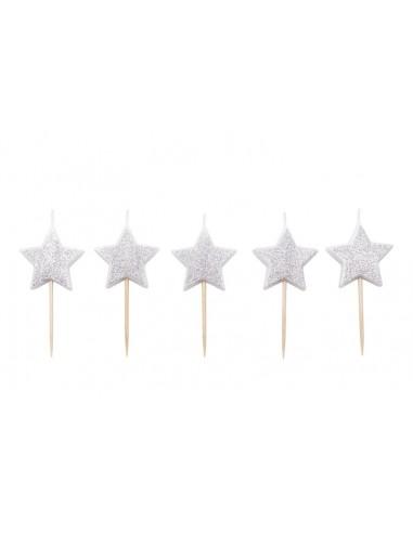 Velas Estrellas plata