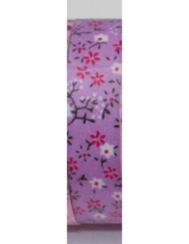 Fabric tape lila con flores en tonos rosas y blancas