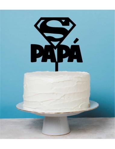 Topper para tarta Super Papá diseñado para el dia del padre