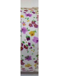 Fabric tape blanco con flores moradas y mostaza