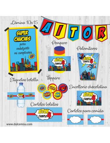 Kit de fiesta personalizado Súper Heroes