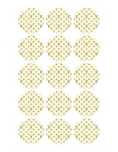 Papel de azúcar Louis Vuitton blanco para galletas