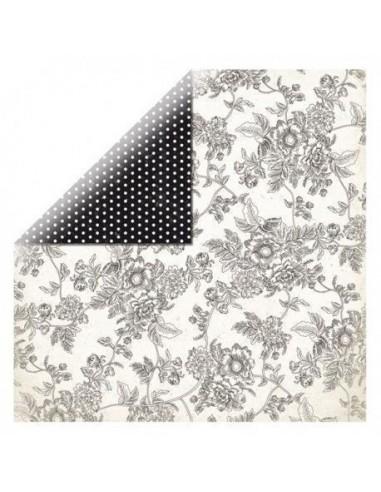 Hoja papel scrapbooking doble cara flores y lunares