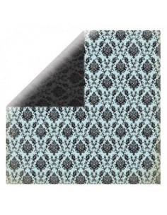 Hoja papel scrapbooking doble cara azul y negro elegante