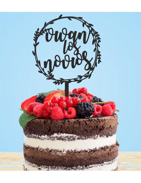 Topper para tarta Vivan los Novios redondo