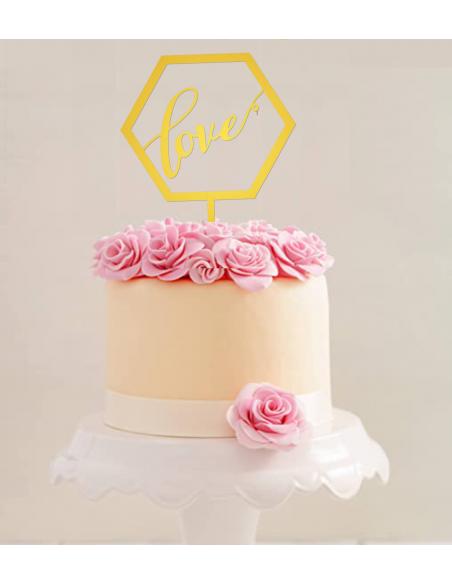 Topper personalizado para tartas Hexagonal Love