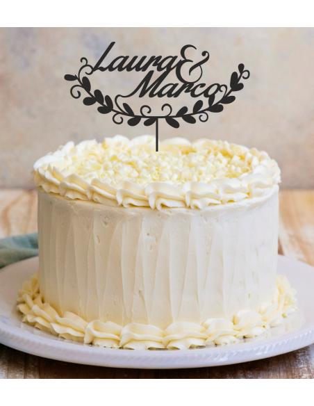 Topper cake boda floral personalizado