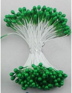 Estambres para flores perlado verde
