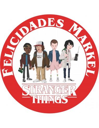 Papel de azúcar Logo Stranger Things redondo personalizado