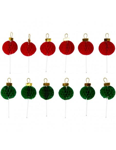 Toppers de papel bolas de Navidad