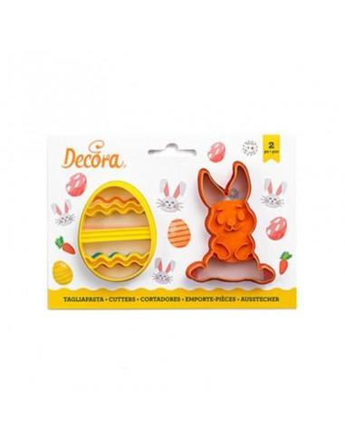 Set 2 cortadores marcadores Conejo y Huevo
