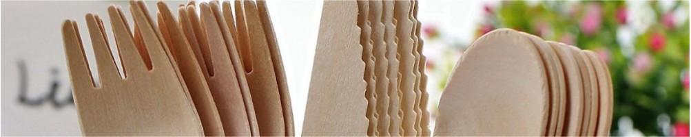 Comprar cubiertos de madera desechables para fiestas y mesas dulces